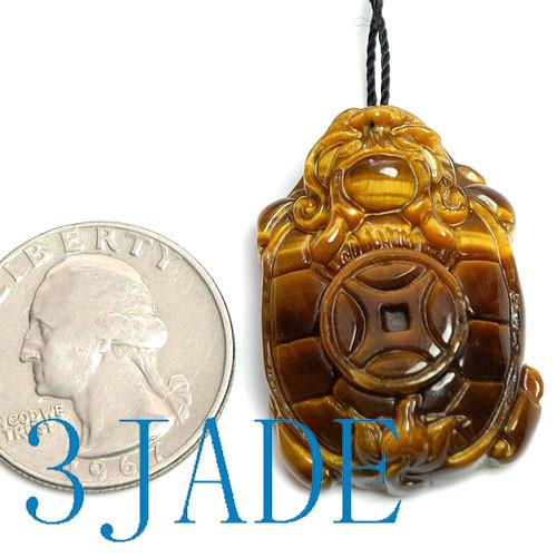 tiger's eye dragon turtle pendant