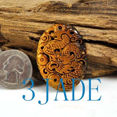 tiger's eye dragon pendant