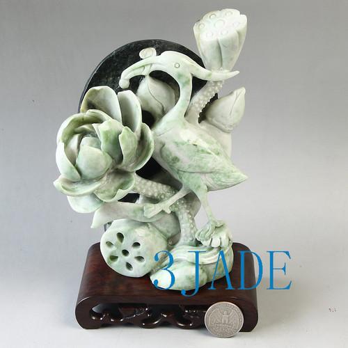 Dushan jade stone heron bird statue
