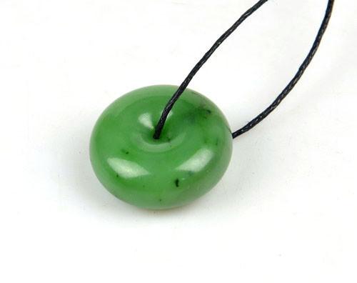 green nephrite jade donut pendant