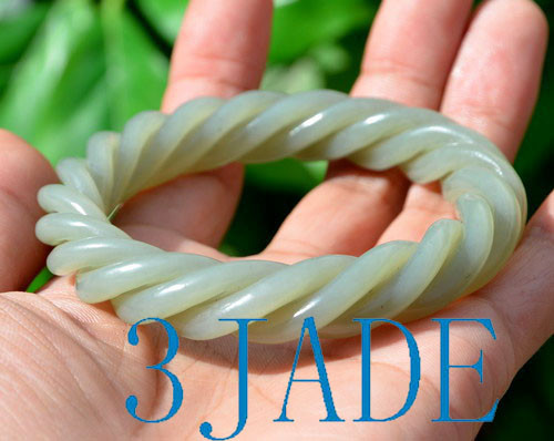carved twisted ropes jade bangle