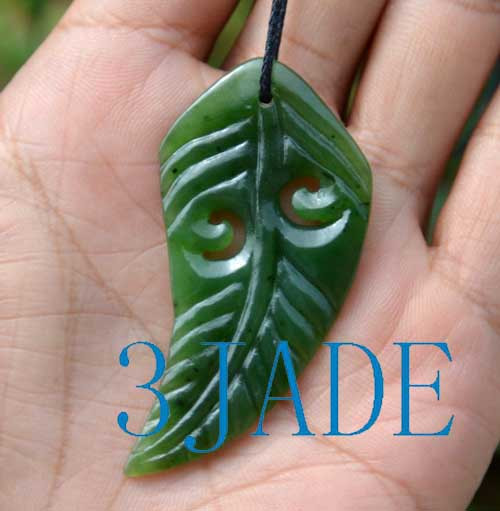 green jade fern leaf pendant