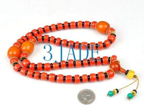 Tibetan Red Coral Mantra Meditation Buddhist Prayer Beads Mala E022012