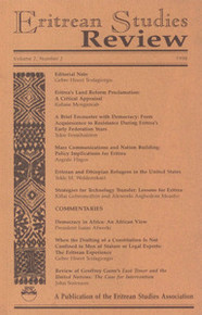 ERITREAN STUDIES REVIEW, Vol. 2 No. 2, 1998, Executive Editor, Gebre Hiwet Tesfagiorgis