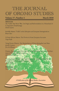 THE JOURNAL OF OROMO STUDIES, Volume 17, Number 1, 2010, Editor: Ezekiel Gebissa, Kettering University
