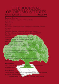 THE JOURNAL OF OROMO STUDIES, Volume 15, Number 1, February/March 2008, Editor: Ezekiel Gebissa, Kettering University
