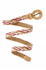 [Sample] Harper, tan leather woven belt