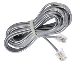 ECS 7 Foot 4 Wire RJ11 Silver Telephone Cable (50) - New