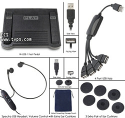 Infinity IN-USB-1 USB Foot Pedal with Spectra USB Headset - New INUSB with SPUSB