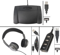 Infinity IN-USB-2 USB Foot Pedal with Overhead OHUSB Headset and Hub