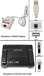 Dictaphone 0502765 Transcription Foot Pedal and Dictaphone 148649 USB Adapter - New