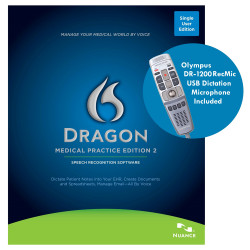 Nuance® Dragon® Medical Practice Edition 2 with Olympus DR-1200 RecMic Microphone