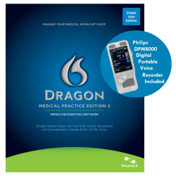 Nuance® Dragon® Medical Practice Edition 2 with Philips DPM8000 Recorder