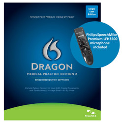Nuance® Dragon® Medical Practice Edition 2 with custom programmed Philips SpeechMike Premium LFH3500