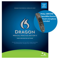Nuance® Dragon® Medical Practice Edition 2 with custom programmed Philips SpeechMike Premium Touch SMP3700