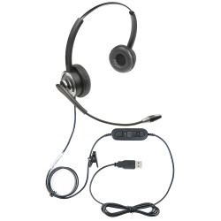 Professional WordCommander Voice to Text USB Voice Recognition Dual Speaker Headset with Noise Cancelling Boom Microphone