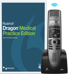 Nuance® Dragon® Medical Practice Edition 4 with Philips SMP4000 Wireless Dictation Microphone