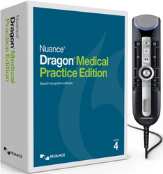 Nuance® Dragon® Medical Practice Edition 4 with Olympus RecMic II RM-4010P Push Button Dictation Microphone