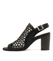 VIKKI Heeled Sandals in Black Crackle Leather