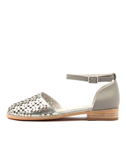 ABLUSH Flats in Silver/ Misty Punched Leather