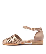 ABLUSH Flats in Rose Gold/ Nude Punched Leather