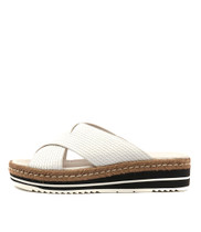 ADEEMUS Flatform Sandals in White Leather