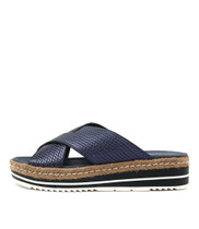 ADEEMUS Flatform Sandals in Navy Metallic Leather