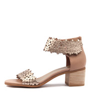DONNA Heeled Sandals in Champagne/ Latte Leather