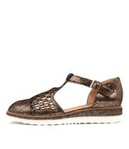 NESENTI Flatforms in Rose Gold Crackle Leather