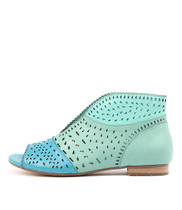 PITLIV Flats in Aqua/ Mint/ Sea Leather