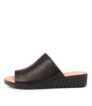 MERRIES Flatform Sandals in Black Leather