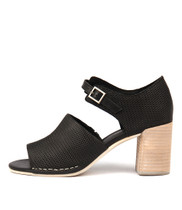 DECKA Heeled Sandals in Black Leather