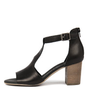 SORELY Heeled Sandals in Black Leather