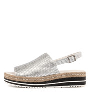 ADIDAH Flatform Sandals in Silver Leather