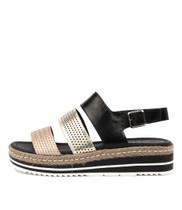 AKIDNA Flatform Sandals in Black/ Gold Leather