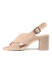 DEANIA Heeled Sandals in Latte Leather