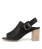 DAVINCI Heeled Sandals in Black Leather
