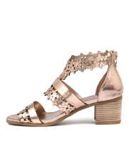 DRAWS Heeled Sandals in Rose Gold Leather