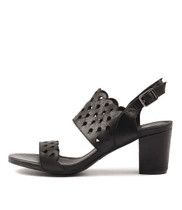 CARINE Heeled Sandals in Black Leather