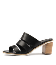 QUALS Heeled Sandals in Black Leather