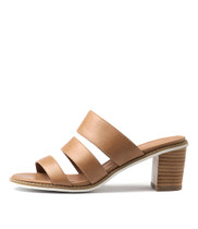 QUALS Heeled Sandals in Tan Leather