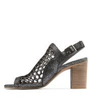 VIKKI Heeled Sandals in Pewter Crackle Leather