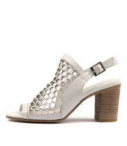VIKKI Heeled Sandals in White Leather