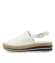 ADIDAH Flatform Sandals in White Leather