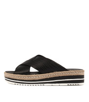 ADEEMUS Flatform Sandals in Black Leather