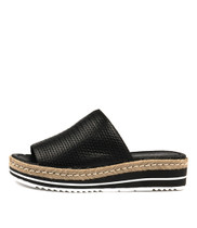ACCENT Flatform Sandals in Black Leather