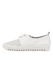 HUSTON Flats in White Leather