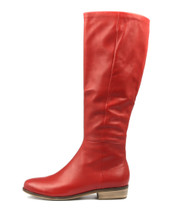 STRATH Knee High Boots in Red Leather