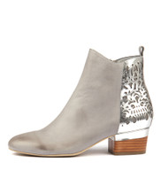 GIRLL Ankle Boots in Blue Grey/ Silver Leather