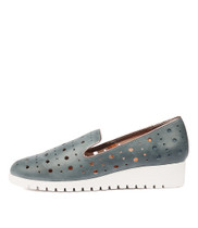 NICHOL Flatforms in Light Navy/ Pewter Leather
